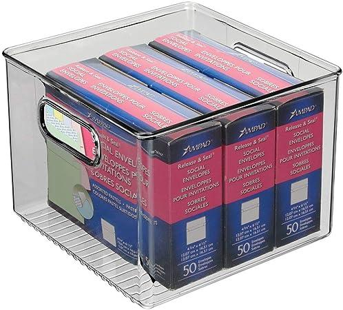 mDesign Caja de almacenaje con asas integradas – Cajas ...