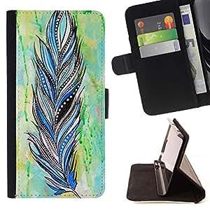 Momo Phone Case / Flip Funda de Cuero Case Cover - Pluma Patrón india de la acuarela - Sony Xperia M5