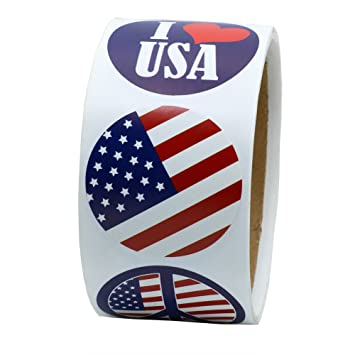 Hybsktm 1 5 round i love usa national flag stickers for items gift