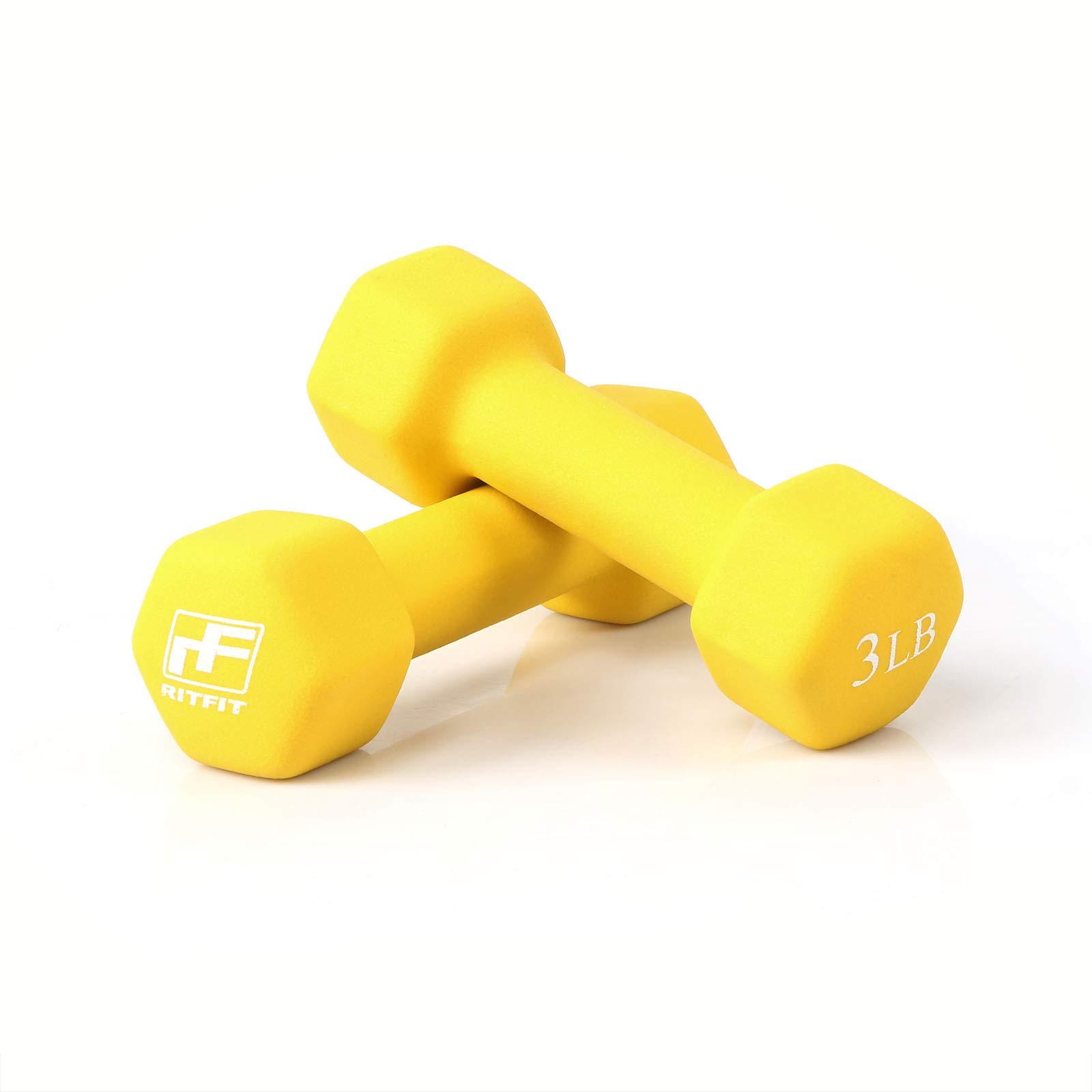 RitFit Set of Two Neoprene Dumbbells Coated for Non-Slip Grip, 1 lb-20 lb (3 Pound(Yellow))
