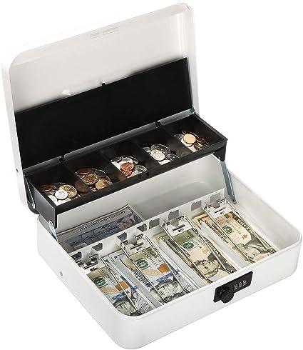Caja metálica con cerradura de combinación, caja de dinero con cierre de bloqueo grande – 5 compartimentos
