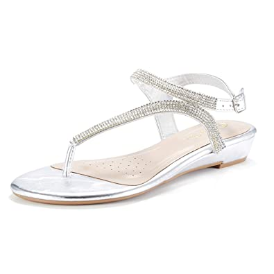 DREAM PAIRS Serpent Women Rhinestones Strap Gladiator Flat Sandals Silver  Size 5