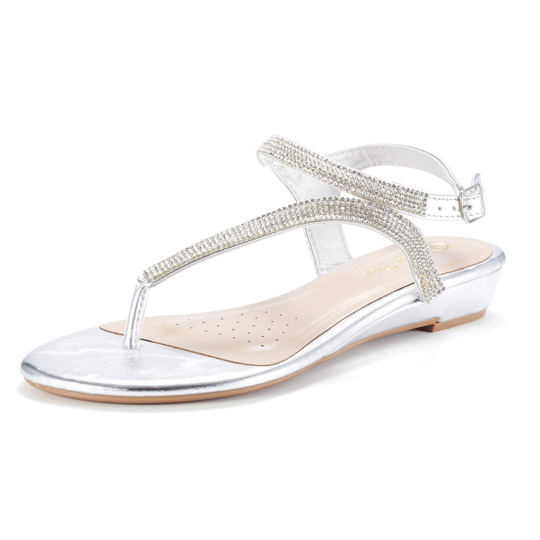 daf259020d Galleon - DREAM PAIRS Serpent Women Rhinestones Strap Gladiator Flat Sandals  Silver Size 7.5