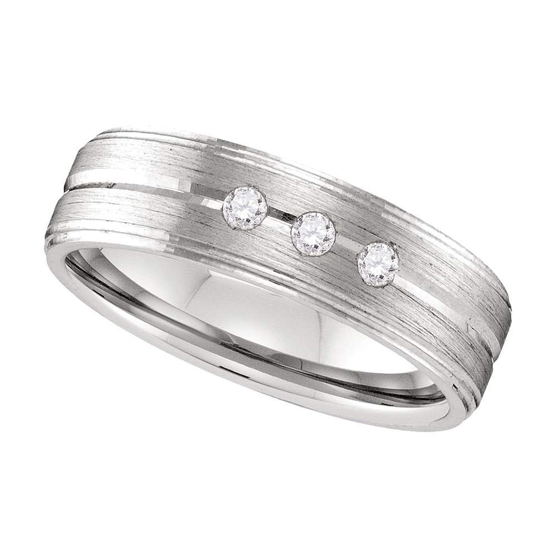10k White Gold Mens Round Diamond Brushed Wedding Anniversary Band Ring 1/8 Cttw