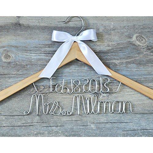 Custom bridal coat hanger, personalized bridal dress hanger wedding dress hanger, custom bridal bride bridesmaid name hanger