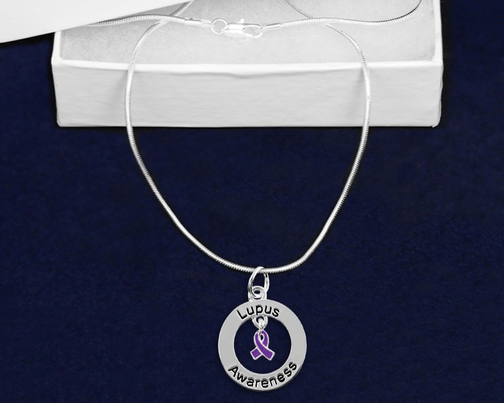 Lupus Awareness Crystal Purple Ribbon Necklace in a Gift Box 1 Necklace - Retail