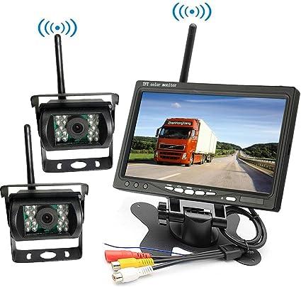 "Wireless Car HD IR Reversing Night Vision Camera 7/"" LCD Monitor Rear View Kit"