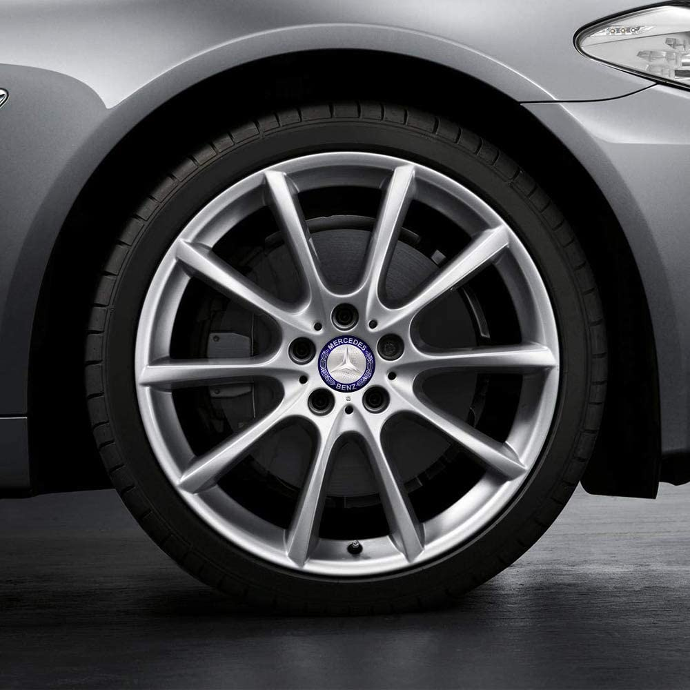 Car concentration camp 4PCS 56mm Blue Wheel Center Hub Caps Decals Emblem Stickers Fit for Mercedes-Benz with Bonus Tire Valve Stem Caps Cover Set