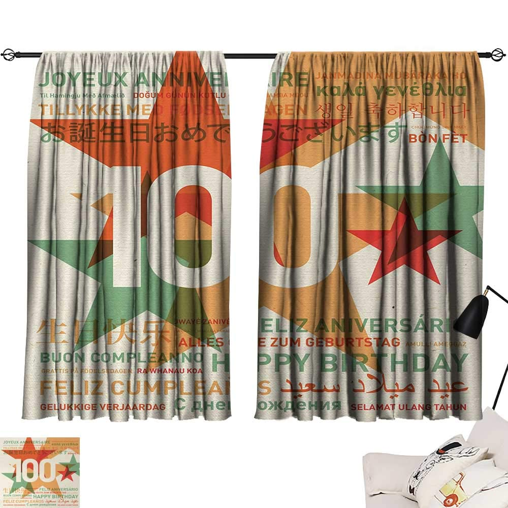 100th Birthday Curtain Kids Birthday in World Languages on Abstract Backdrop Artwork Light Darkening Curtains Pale Green and Vermilion W55 x L39 by Jinguizi (Image #1)