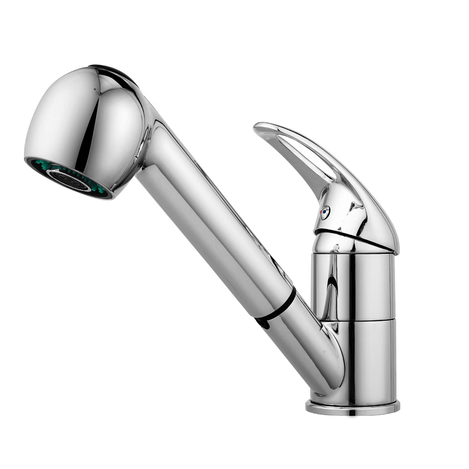 Kitchen Faucet, Modern Commercial Stainless Steel Single Bar Faucet Chrome Pull Down/Out Vessel Sink Faucets, Silver