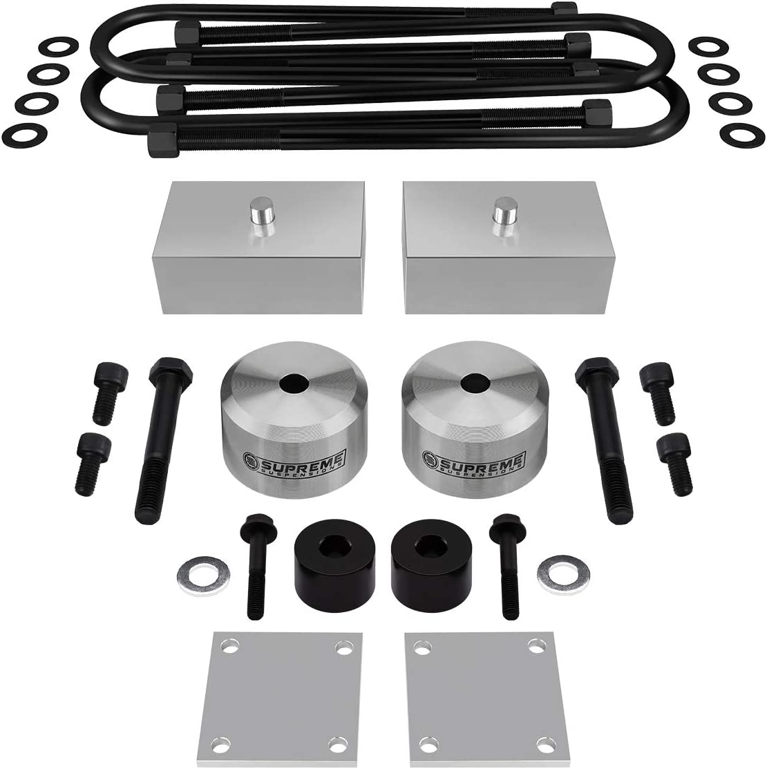 Full Lift Kit for 2005-2016 Ford F250 F350 Super Duty U-Bolts Bump Stop Spacers Brake Line Brackets 2 Rear Lift Blocks 2 Front Lift Spring Spacers 4WD Silver Supreme Suspensions