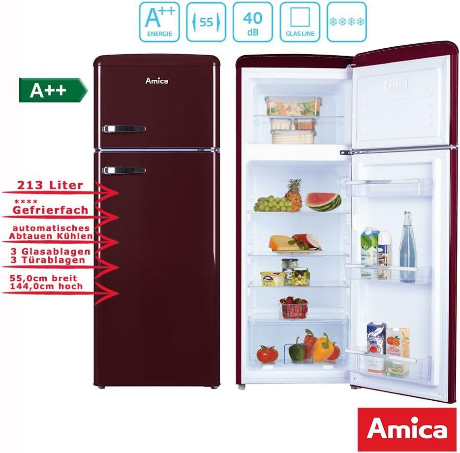 Amica Retro Nevera/Congelador Vino Rojo KGC 15631 R A + + 213 L ...
