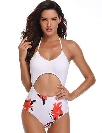 9df8dfd65b41d Women High Cut Drawstring One-Piece Cross Back Swimsuit Sexy Cut-Out Open  Stomach