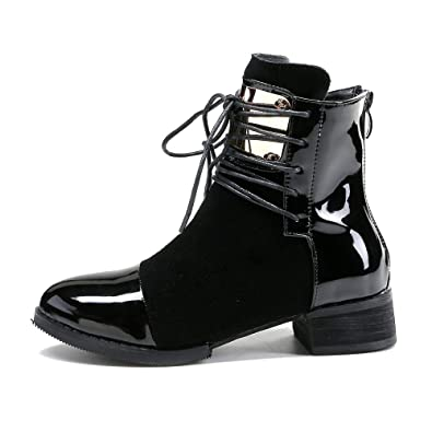 7a2c62d1f551 Amazon.com  LIURUIJIA Women Leather Genuine Boots Martin Ankle Boots Sheet  Metal Short Boots Flat Bottom Black Wine Red GI-BT-GC213-2  Shoes