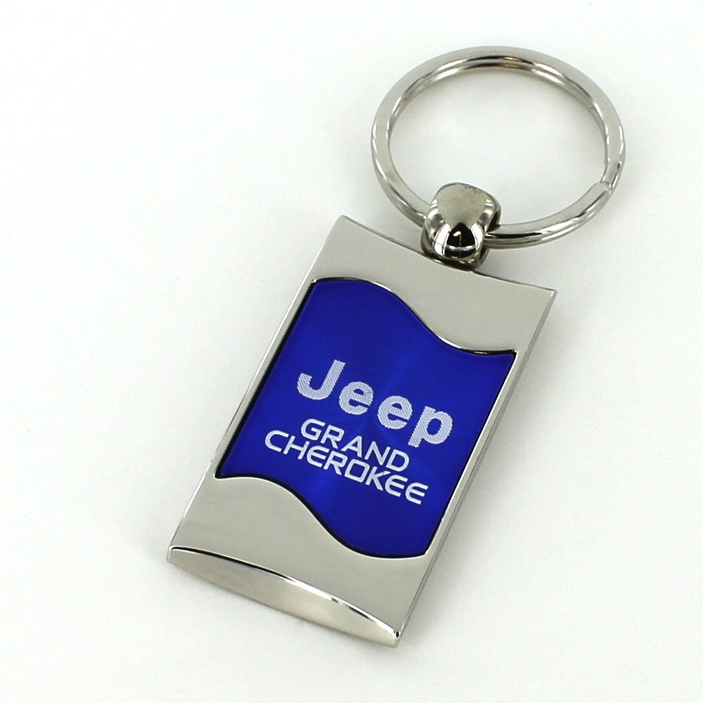 Jeep Grand Cherokee Blue Spun Brushed Metal Key Ring