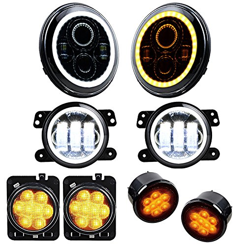 Price comparison product image Set for 07-17 Jeep Wrangler 7'' Headlight + 4'' Fog Lamp Halo Ring + Turn Signal Light + Side Maker LED Lighting