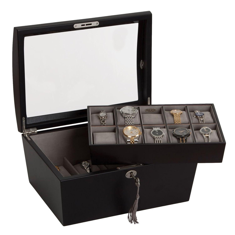 Uhrenkasten mit Vitrine Aufbewahrungsbox fÜr 15 Uhren aus Holz