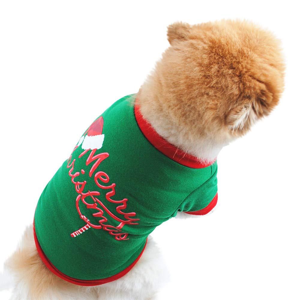 QinMM Pet Kostü m Weihnachten, Hundebekleidung Baumwollgrü nes T-Shirt Puppy Sweater Cute XS-L