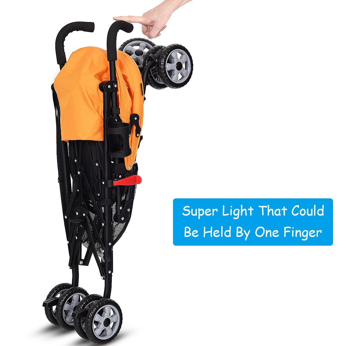 INFANS Lightweight Baby Umbrella Stroller, Foldable Infant Travel Stroller with 4 Position Recline, Adjustable Backrest, Cup Holder, Storage Basket, UV Protection Canopy, Carry Belt (Orange) by INFANS (Image #4)
