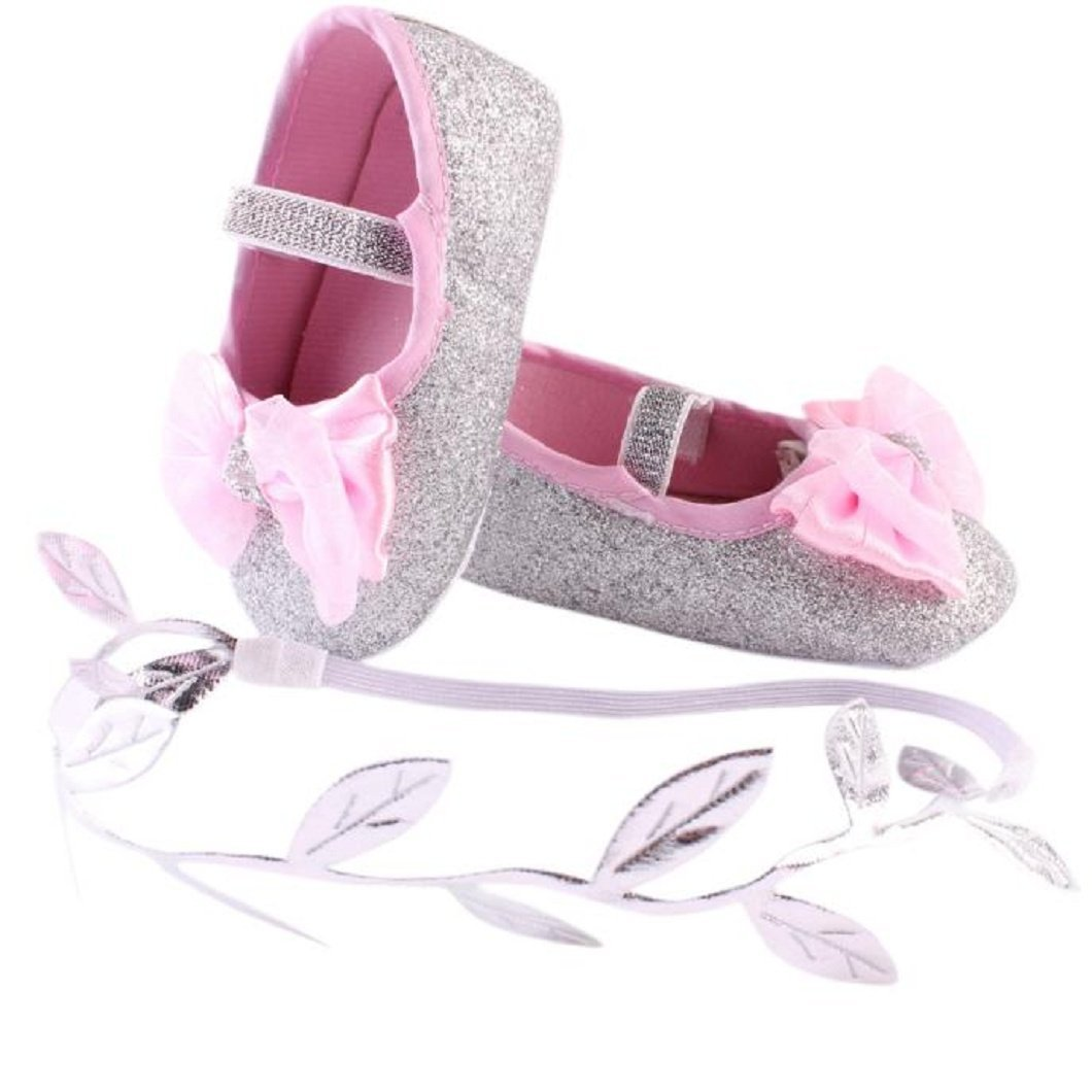 DZT1968 Baby Girl Soft Sole Bowknot Bling Prewalker Shoes With Leaf Headband