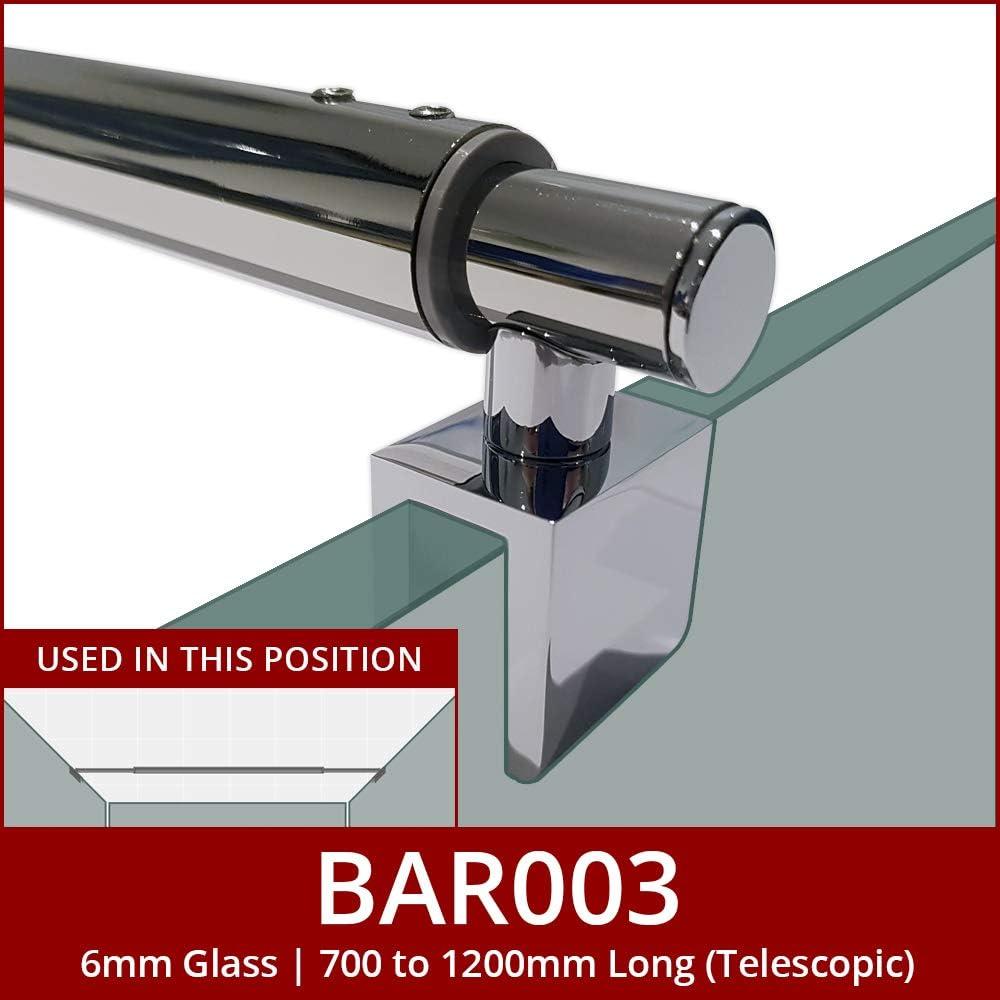 Barre de douche en verre Acier inoxydable chrom/é pour pi/èces humides ou parois de douche BAR003 Longueur t/élescopique r/églable 700 /à 1200 mm Compatible avec le verre de 6 mm