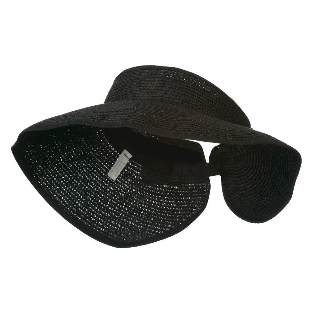 Jeanne Simmons UPF 50+ Bow Closure Roll Up Visor - Black OSFM