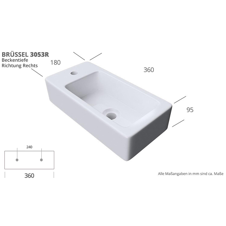 Waschbecken Mit Hahnloch Colossum101 Aufsatzwaschbecken 46x26x11 Cm