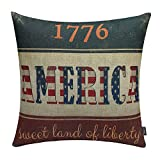 TRENDIN 18'' X 18'' Vintage 1776 America the Stars and Stripes Linen Cotton Cushion Cover Pillow Case (PL045TR)
