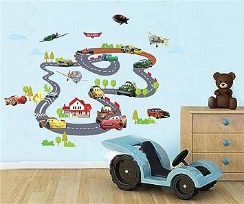 ufengke Dessin Animé Voiture de Course Avion Stickers Muraux, La Chambre  des Enfants Pépinière Autocollants Amovibles