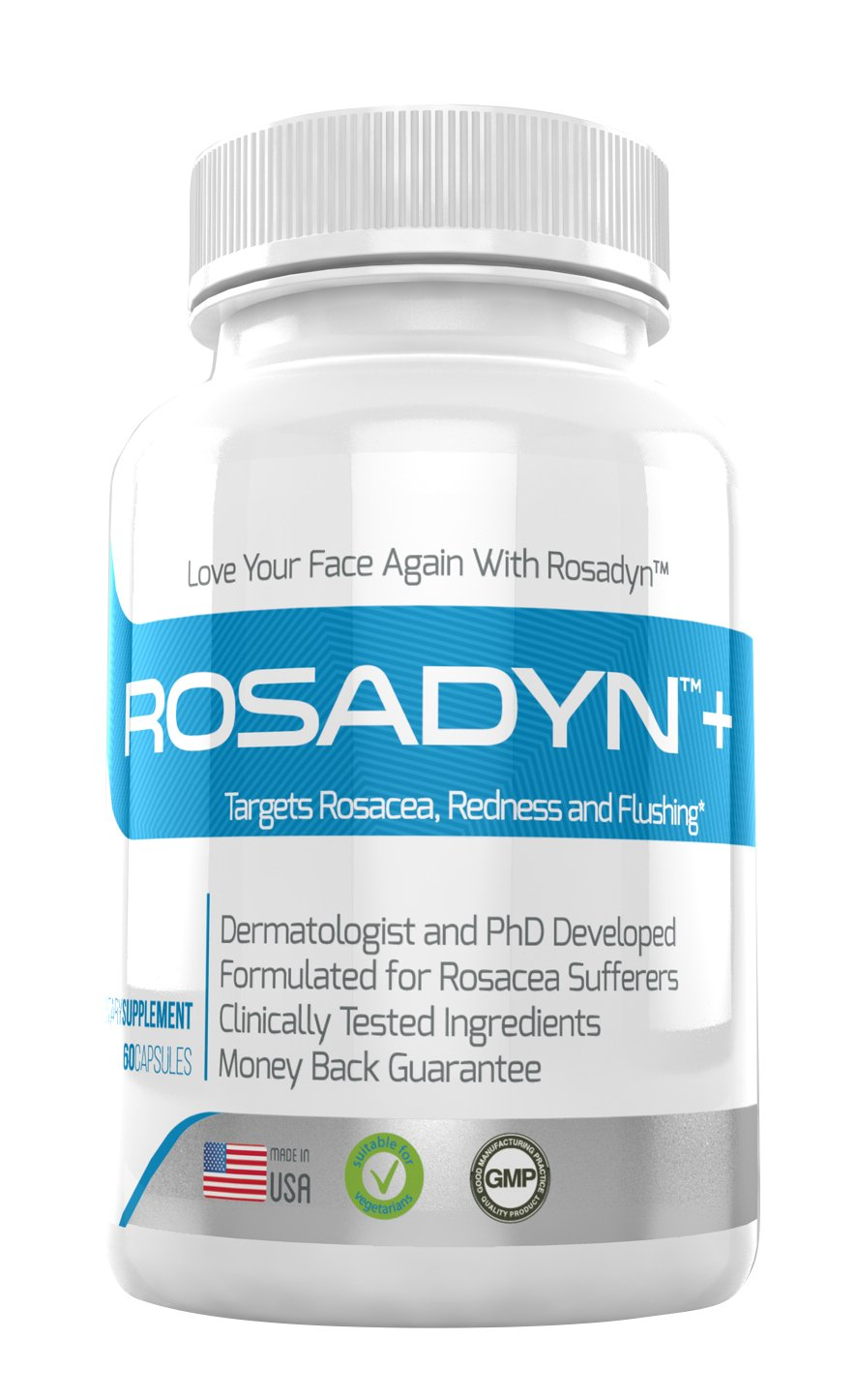 Rosacea Treatment Supplement by Rosadyn | Relief for Face & Nose Redness, Acne and Red Eyes | Works Internally Unlike a Cleanser Wash, Moisturizer, Cream or Other Skin Care Products| Natural by Rosadyn+