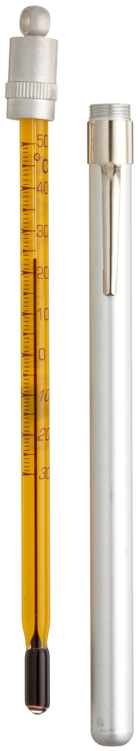 H-B Easy-Read Pocket Liquid-in-Glass Thermometer; -30 to 50C, Closed Metal Case, Environmentally Friendly (B60370-0400)