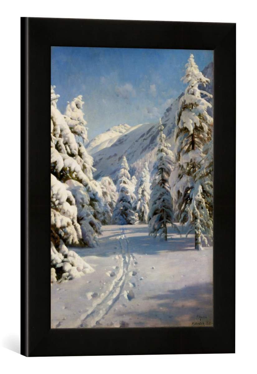 Gerahmtes Bild von Peder Moensted Winterlandschaft bei Morteratsch, Kunstdruck im hochwertigen handgefertigten Bilder-Rahmen, 30x40 cm, Schwarz matt