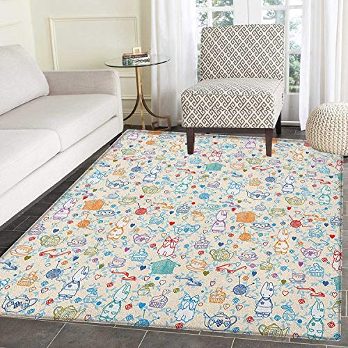 Tea Party Area Rug Carpet Pattern with Cute Pastime Things Baby Bunny Tea Glasses Balls of Yarn and Needles Living Dining Room Bedroom Hallway Office Carpet 5'x6' Multicolor ()