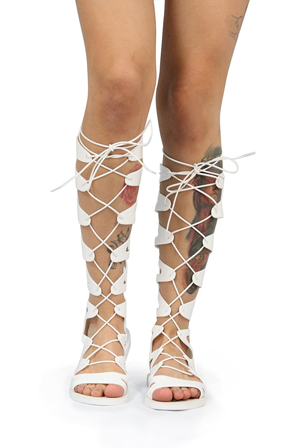 076dbd99a9e04 Amazon.com | Static Fashion Womens Lace Up Jelly Gladiator Sandals | Sandals