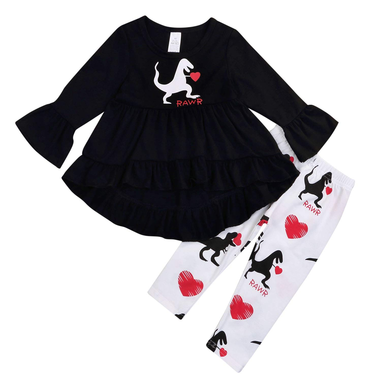 Baby Girls Valentines Day Outfits Toddler Long Sleeve Love Heart Dress