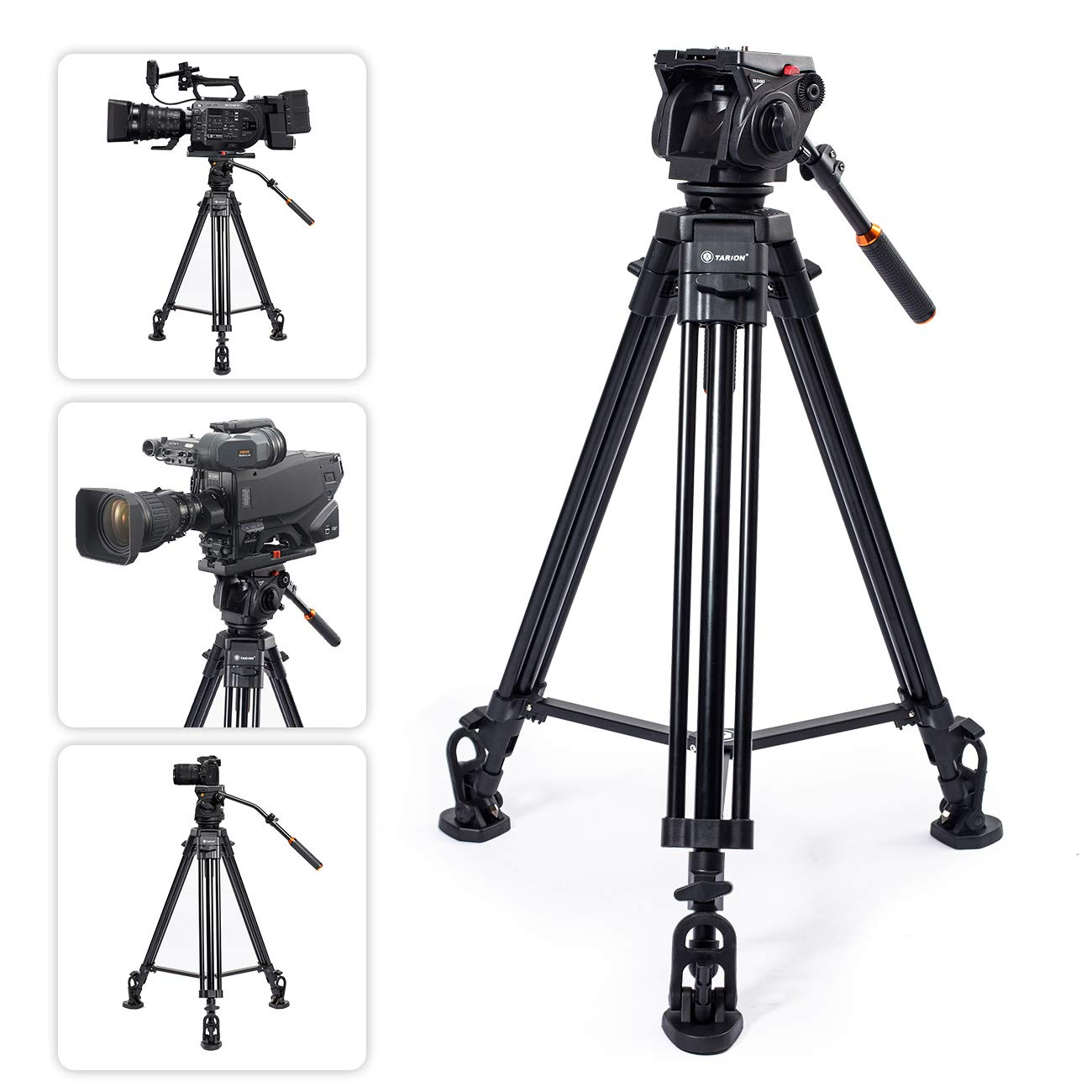 TARION TR-VT77 Camera Tripod TRP-FH353 Fluid Drag Head Full Panoramic View 360 1/4'' & 3/8'' Quick Release Plate DSLR Camcorder Photography Studio