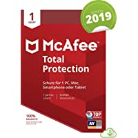 McAfee Total Protection 2019| 1 Geräte | 1 Jahr | PC/Mac/Smartphone/Tablet | Download [Online Code]