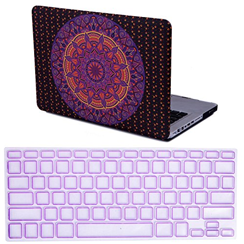 """HDE MacBook Pro 13"""" Non Retina Case Mandala Pattern Designer Hard Shell Rubber Coated Plastic Cover with Keyboard Skin Fits CD Drive Models A1278 (Purple and Orange)"""