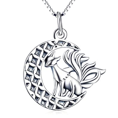 Silver Mountain 925 Sterling Silver Fox Moon Pendant Necklace