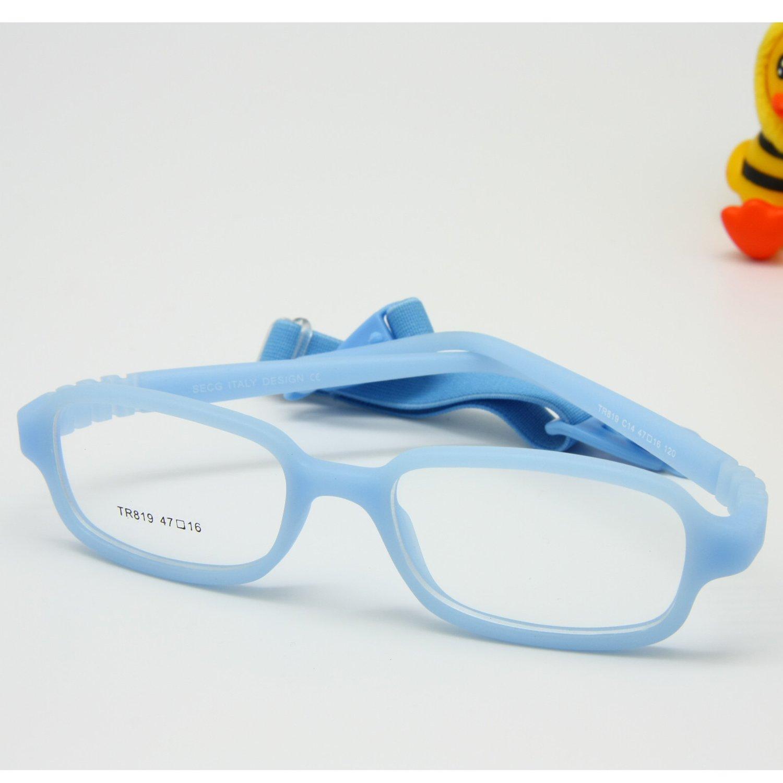 EnzoDate Jungen Mädchen Optische Gläser Frame mit Gurt flexibel für Räume nicht - Kinder, Größe 45 Größe 45 (Lila)