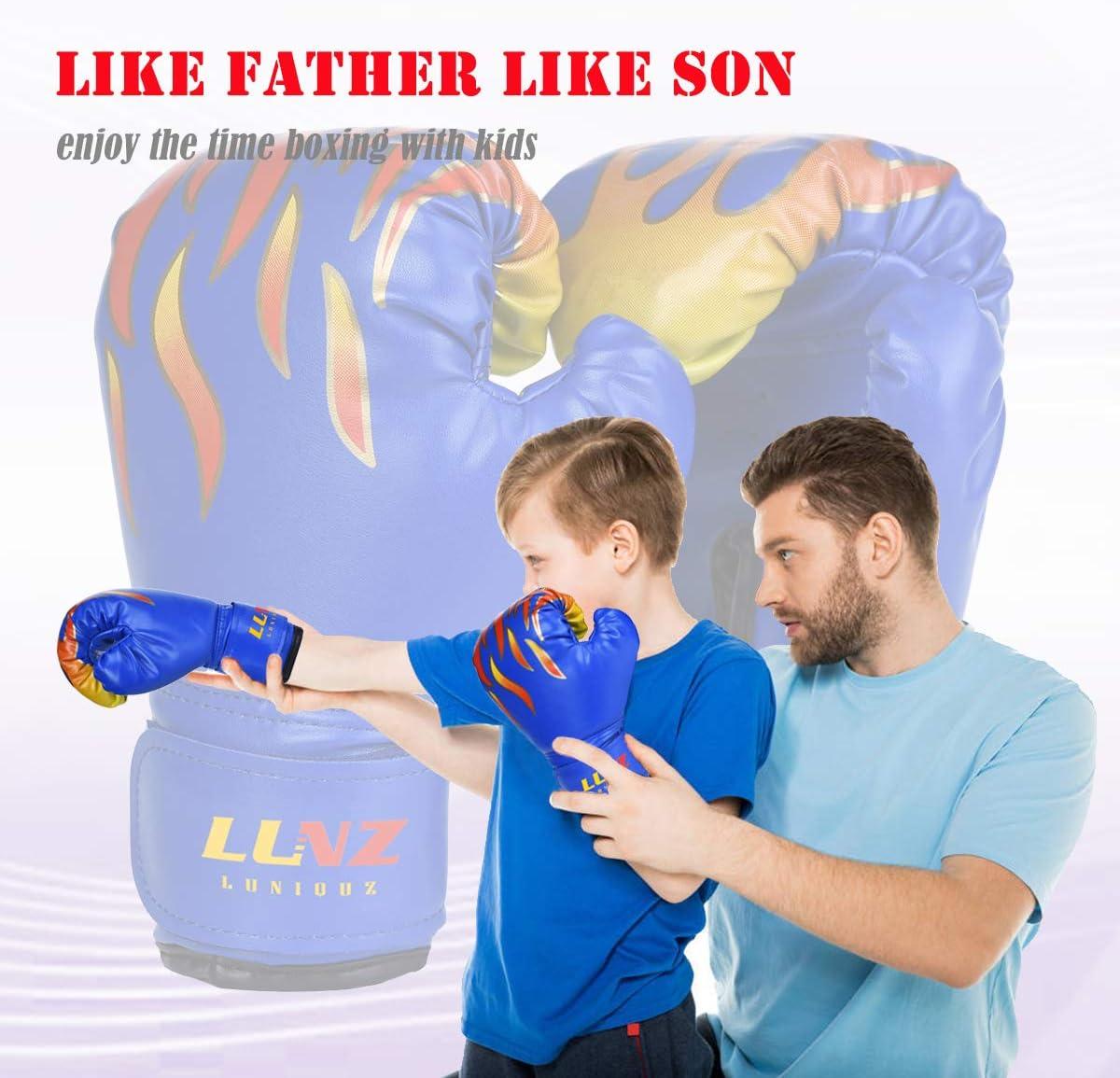 Luniquz Gant de Boxe Enfant 3-10 Ans en Cuir Gant dEntra/înement de Boxe pour MMA Muay Thai Kickboxing Sac de Frappe-6 oz