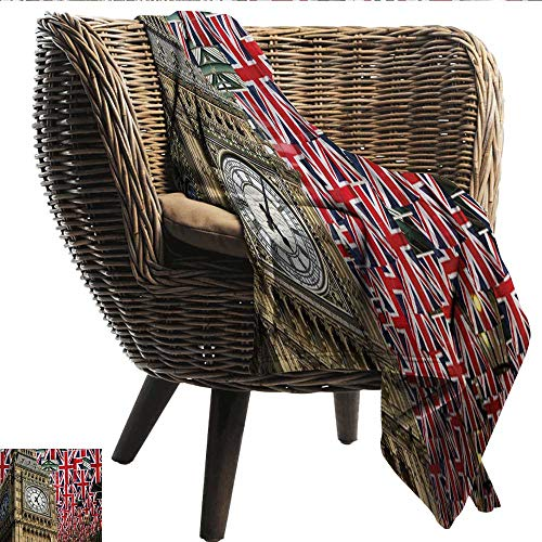 smllmoonDecor Sofa Blanket Union Jack UK Flags Background with Big Ben Festive Celebrations Loyalty Fall Winter Spring Living Room W54 xL72 Sofa,Picnic,Camping,Beach,Everyday use