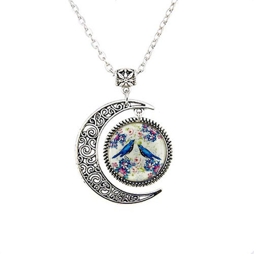Amazon Love Bird Moon Necklace Charm BFF Birthday Gift For Girlfriend Wife Mom Nurse Her Clothing