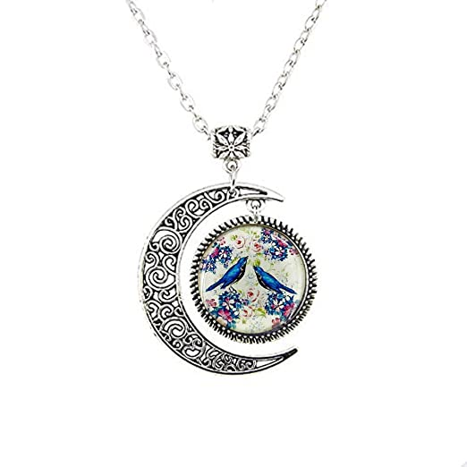 Love Bird Moon Necklace Charm BFF Birthday Gift For Girlfriend Wife