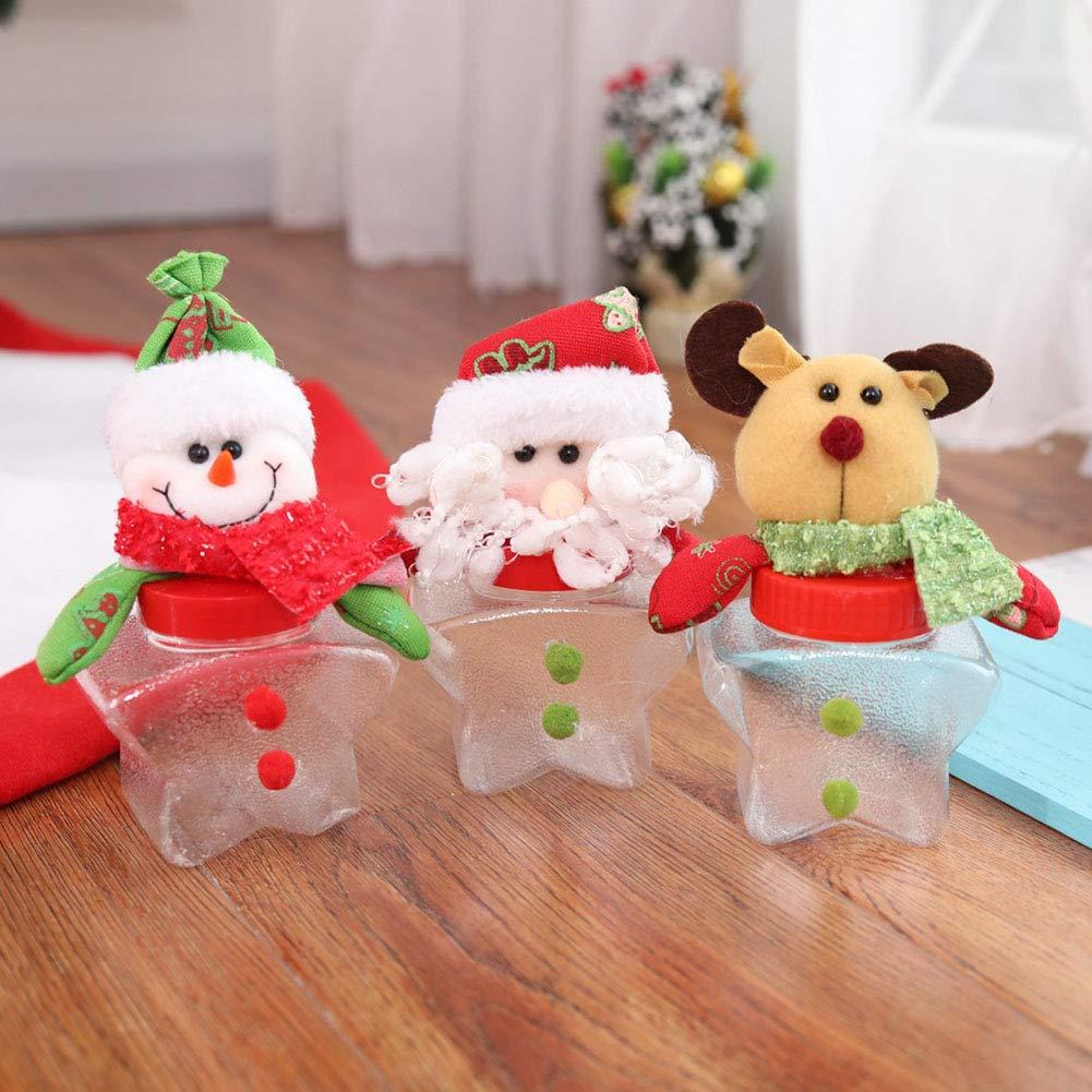 lzndeal Contenedor de Almacenamiento de Tarro de Caramelos de Navidad Contenedor de Botella de Caramelos de plastico Transparente: Amazon.es: Hogar
