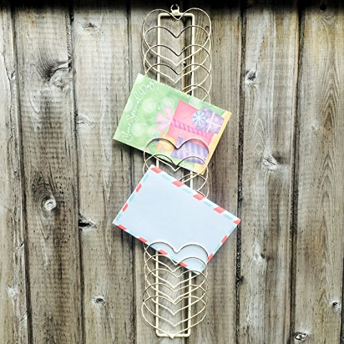 Picture Christmas Cards (Whole House Worlds The Rustic Farmhouse Wire Hearts Card, Memento, Photo, Note Rack Holder, Vintage Style, Distressed Weathered Gray, Wall Mounted, Metal Wire, 20 1/2 inches Long, By)