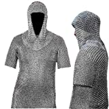 Medieval Chain Mail Shirt and Coif Armor Set (Full Size)  Long Shirt