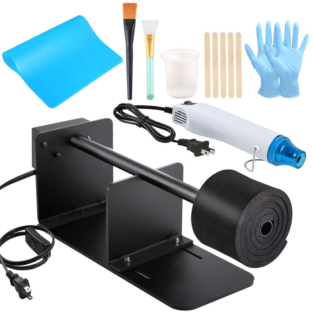 Sntieecr Epoxy Glitter Tumbler Full Kits with Tumbler Turner Machine, Bubble Buster Tool Heat Gun, Silicone Measuring Cup, Silicone Mat and Silicone Epoxy Brushes for Making Epoxy Resin Craft Tumblers by Sntieecr