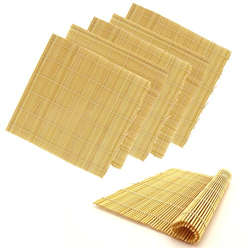 BambooMN 6x Natural Professional Grade Bamboo Sushi Making Rolling Mats 11.8″ x 11.8″ For Sale