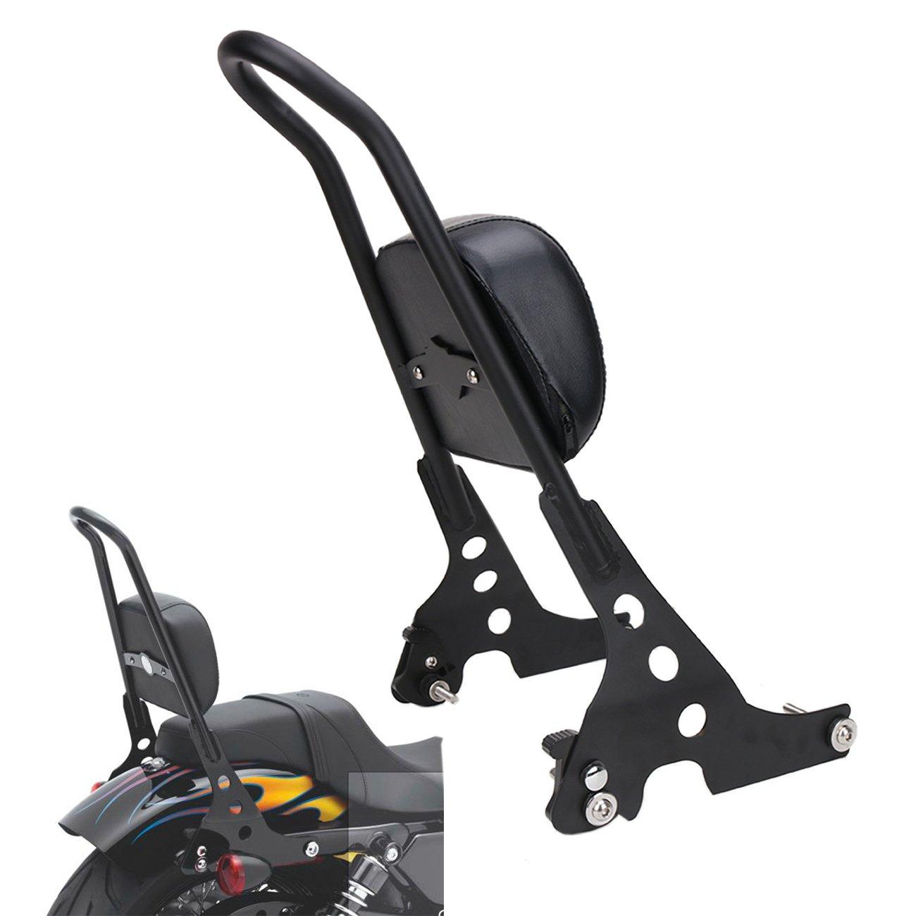 Cozymoon Sissy Bar Backrest Dossier avec support et vis pour moto Harley Davidson Sportster 1200 Roadster XL1200R/Custom XLH1200C/Sport XLH1200S/Sportster 883 Custom XL883C/883 Roadster XL883R Noir